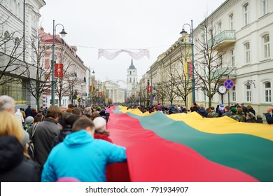 VILNIUS, LITHUANIA - MARCH 11, 2017: Thousands of people taking part in a festive events as Lithuania marked the 27th anniversary of its independence restoration.