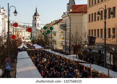 VILNIUS, LITHUANIA - MARCH 2: Unidentified people in annual traditional crafts fair - Kaziukas fair on Mar 2, 2019 in Vilnius, Lithuania.