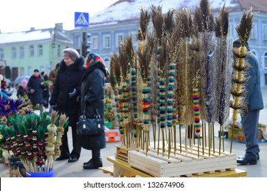 VILNIUS, LITHUANIA - MARCH 24: Unidentified people's trades traditional palm bouquets on Palm Sunday fair on Mar 24, 2013 in Vilnius, Lithuania.
