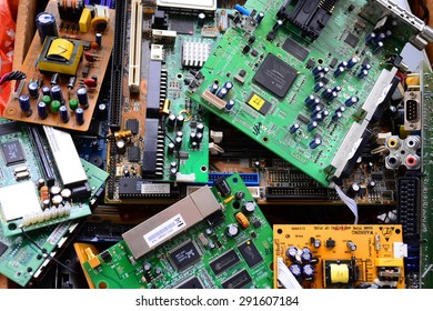VILNIUS, LITHUANIA - MARCH 31: Old electronics mainboards in private collection on March 31, 2015, Vilnius, Lithuania.