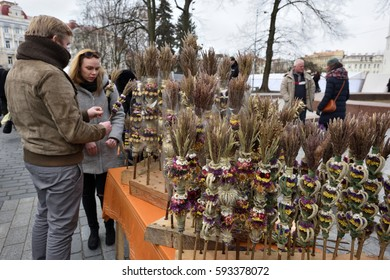 VILNIUS, LITHUANIA - MARCH 4: Unidentified people trade traditional palm bouquets in annual traditional crafts fair - Kaziuko fair on Mar 4, 2017 in Vilnius, Lithuania