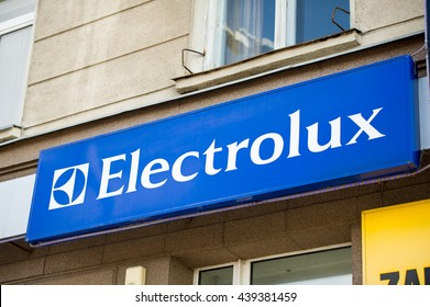Vilnius, Lithuania - March 5, 2016: Electrolux store sign. Electrolux is a multinational appliance manufacturer, headquartered in Stockholm, Sweden.