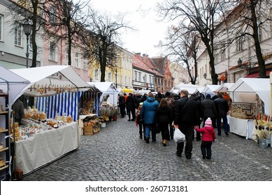 VILNIUS, LITHUANIA - MARCH 7: Weekend in the capital of Lithuania Vilnius city in annual traditional crafts fair - Kaziukas fair on March 7, 2015, Vilnius, Lithuania.