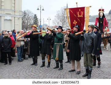 VILNIUS, LITHUANIA - MARCH 8, 2016: Unidentified peoples parade in annual traditional crafts fair - Kaziuko fair in Vilnius, Lithuania