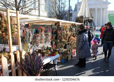 VILNIUS, LITHUANIA - MARCH 8: Unidentified people trade traditional palm bouquets in annual traditional crafts fair - Kaziuko fair on MARCH 8, 2016 in Vilnius, Lithuania