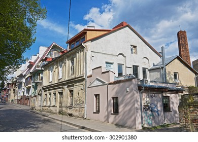 VILNIUS, LITHUANIA - MAY 05, 2015: View to the old residential buildings in Vilnius, Lithuania.