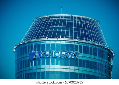 Vilnius, Lithuania - May 10, 2018: Barclays bank sign and logo on the Vilnius Barclays bank office building. Barclays is a British multinational bank and financial services company