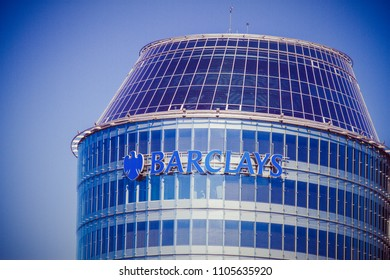Vilnius, Lithuania - May 10, 2018: Barclays bank office in Vilnius. Barclays is a British multinational bank and financial services company