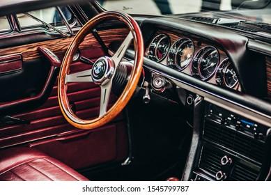 Vilnius / Lithuania - May 11, 2019: Car exhibition, gorgeous interior of BMW E9, classic car