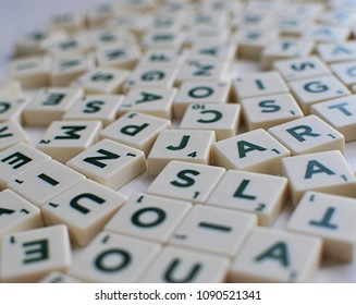 Vilnius, Lithuania, May 14, 2018: Scrabble game letters background. Tiles with letters closeup view.