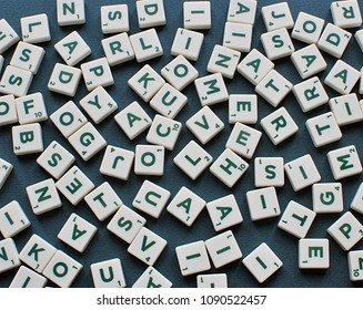 Vilnius, Lithuania, May 14, 2018: Scrabble game letters background.