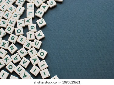 Vilnius, Lithuania, May 14, 2018: Scrabble game letters background with copy space.