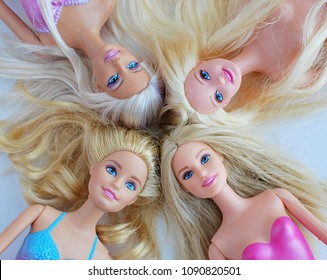 Vilnius, Lithuania, May 14, 2018: Barbie dolls with blonde hair.