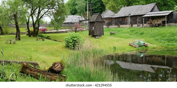 VILNIUS, LITHUANIA - MAY 15, 2016: Ethnographic museum of a retro agricultural equipment , tools in the territory of an Pilaitie area- the most forest and lake district of the Lithuanian city.