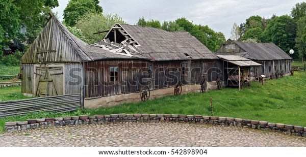 VILNIUS, LITHUANIA - MAY 15, 2016: Rural museum of a retro agricultural equipment , tools and machinery in the territory of an old windmill. Pilaitie - the most  eco district of the Lithuanian city.