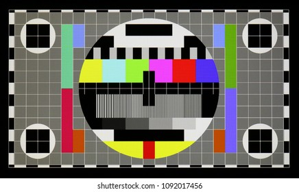 VILNIUS, LITHUANIA - MAY 15, 2018: Real photo of standard industrial color television test pattern on the poor mass production NOUS brand modern smart phone with  resolution 1280 by 720 pixels.
