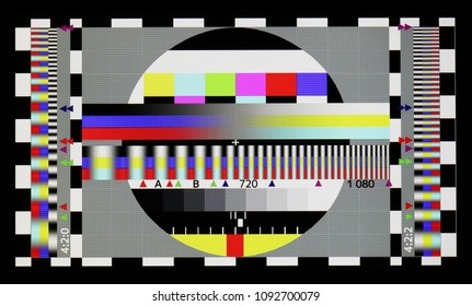 VILNIUS, LITHUANIA - MAY 15, 2018: Photo shot  of standard industrial color television test sheet  on the poor mass production NOUS brand modern smat phone with resolution 1280 by 720 pixels.