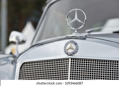 Vilnius, Lithuania - May 18: Mercedes-Benz logotype on a car on May 18, 2018 in Vilnius Lithuania. Mercedes-Benz is a global automobile marque and a division of Daimler AG company