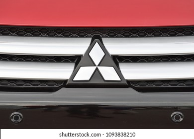 Vilnius, Lithuania - May 18: Mitsubishi logotype on a car on May 18, 2018 in Vilnius Lithuania. Mitsubishi Motors Corporation is a Japanese multinational automotive manufacturer
