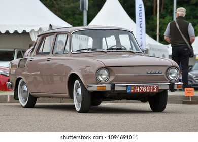 Vilnius, Lithuania - May 18: vintage Skoda car on May 18, 2018 in Vilnius Lithuania. Car exhibition Best Classic Auto in Vilnius, capital of Lithuania