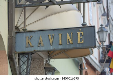 Vilnius / Lithuania  - May 19, 2019: Exterior of the cafe (kavine) at the Narutis Hotel on Pilies Gatve (Castle Street).