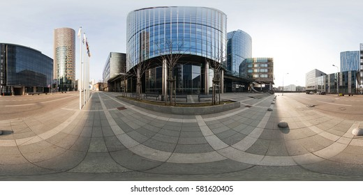 VILNIUS, LITHUANIA - May 2013: Full 360 equirectangular spherical panorama view of Business center of Vilnius with skyscrapers. Virtual reality content