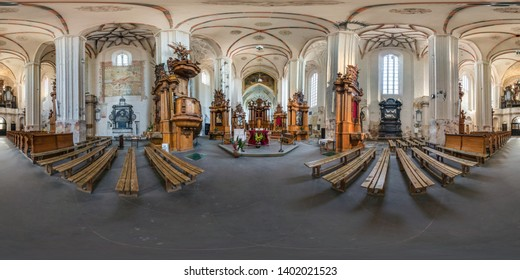 VILNIUS, LITHUANIA - MAY 2019: Full spherical seamless hdri panorama 360 degrees angle inside interior of old gothic catholic church of bernardin in equirectangular projection, VR AR content