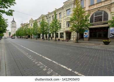 Vilnius, Lithuania. May 2019.  A view of the Lithuanian National Drama Theatre building in the center city