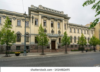 Vilnius, Lithuania. May 2019.   A view of the facade of  Lithuanian Academy of Sciences Theodore Grotus Foundation palace