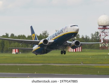 VILNIUS, LITHUANIA – MAY 21, 2021. Ryanair Boeing 737-800 SP-RSM (two days before hijack). Ryanair flight FR4978 from Athens to Vilnius, was forcibly diverted to Minsk in Belarus