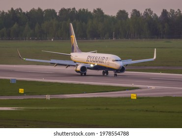 VILNIUS, LITHUANIA – MAY 23, 2021. Ryanair Boeing 737-800 SP-RSM Landing from Minsk after hijack. Ryanair flight FR4978 from Athens to Vilnius, was forcibly diverted to Minsk in Belarus.