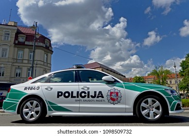 Vilnius, Lithuania - May 25, 2018: New design lithuanian police cars Audi A6