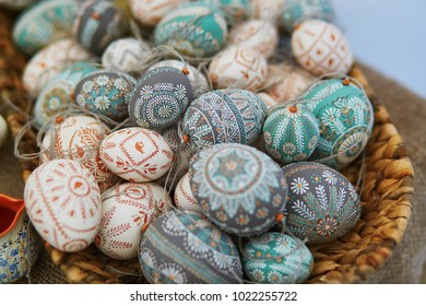VILNIUS, LITHUANIA - MAY 26, 2017:   Colorful Easter eggs sold on Easter fair in Vilnius, Lithuania. Traditional Lithuanian spring fair