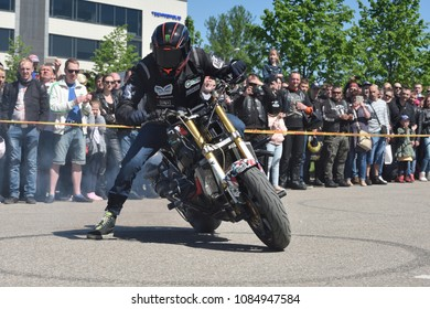Vilnius, Lithuania - May 5: Annual gathering of bikers from the Baltic countries on May 5, 2018 in Vilnius Lithuania. This is traditional motorbikers event during spring in Vilnius.