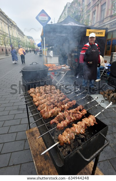 VILNIUS, LITHUANIA - MAY 7: Vilnius celebrate the European Day with a traditional restaurant fair in the centre of Vilnius on May 7, 2017 in Vilnius, Lithuania.