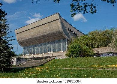 Vilnius, Lithuania - May 9, 2015:  Abandoned Palace of Concerts and Sports on May 9, 2015  in Vilnius, Lithuania. Arena was opened in 1971 and closed in 2004.