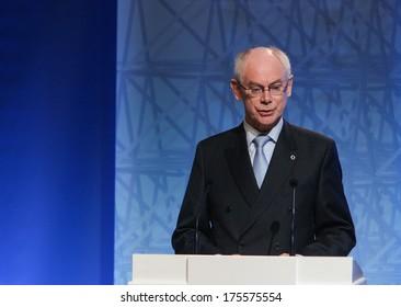 VILNIUS, LITHUANIA - NOV. 29: President of the European Council Herman Van Rompuy is making speech at a during Eastern Partnership Summit in Vilnius. November 29, 2013 in Vilnius, Lithuania.