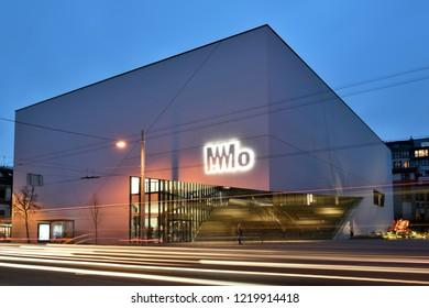 Vilnius, Lithuania, November 02: MO Museum on November 02, 2018 in Vilnius, Lithuania. MO Museum is a modern art museum, in Vilnius, the capital of Lithuania