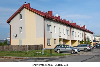 VILNIUS, LITHUANIA - NOVEMBER 05, 2017: The new modern standard modular house with low cost smal  sized apartments for young families. It is the ecological region of Pilaite of the Lithuanian capital