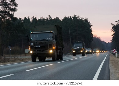 VILNIUS, LITHUANIA - NOVEMBER 11, 2017: Lithuanian Army Convoy drives on highway