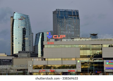 VILNIUS, LITHUANIA - NOVEMBER 11: Office buildings in Vilnius on November 11, 2015 in Vilnius, Lithuania. Vilnius is the capital of Lithuania and its largest city.