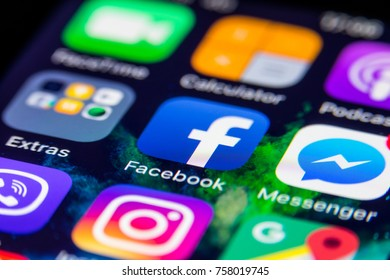 VILNIUS,  LITHUANIA - NOVEMBER 19, 2017: Facebook logo on smartphone. Facebook icon