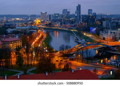 VILNIUS, LITHUANIA - NOVEMBER 2, 2016: View to modern part of Vilnius, night cityscape with Neris river