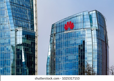 VILNIUS, LITHUANIA - NOVEMBER 21, 2017: Telia and Huawei headquarters office buildings in Vilnius