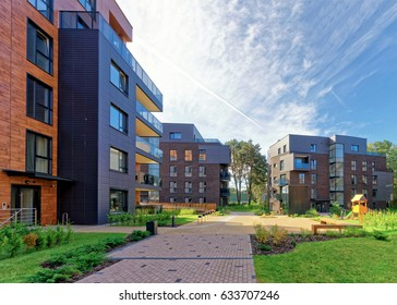 Vilnius, Lithuania - October 1, 2016: Benches at Modern european complex of apartment buildings. And outdoor facilities.