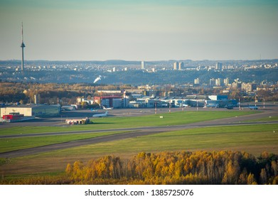 VILNIUS, LITHUANIA - OCTOBER 18, 2014: Aerial View of Vilnius Airport. Vilnius Airport is the international airport of Vilnius, the capital of Lithuania. The airport began operations on 17 August 1932