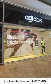VILNIUS, LITHUANIA - OCTOBER 24: ADIDAS store on October 24, 2013 in Vilnius, Lithuania. Adidas AG is a German multinational corporation that designs and manufactures sports clothing and accessories.