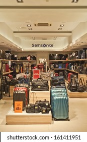 VILNIUS, LITHUANIA - OCTOBER 24: SAMSONITE store on October 24 in Vilnius, Lithuania. Samsonite International S.A. is an American multinational luggage manufacturer and retailer.