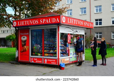 VILNIUS, LITHUANIA - OCTOBER 9: Vilnius city newspapers selling system Lietuvos spauda view on October 9, 2014, Vilnius, Lithuania.