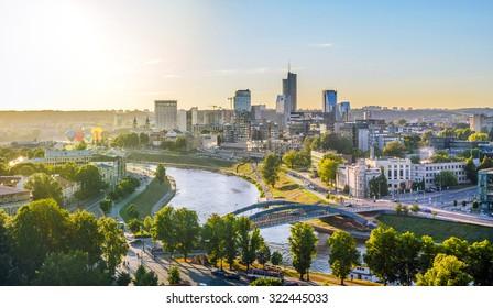 Vilnius, Lithuania. Panorama of Vilnius in the evening. Taken on 2015/07/24